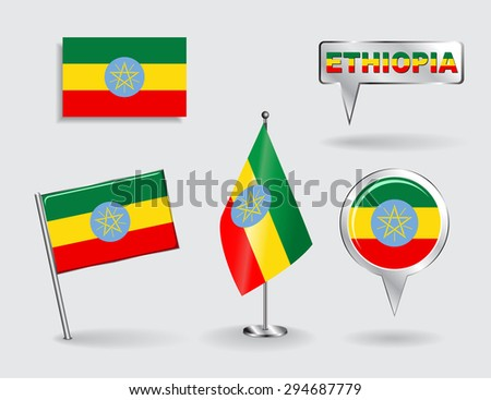 Set of Ethiopian pin, icon and map pointer flags. Raster version