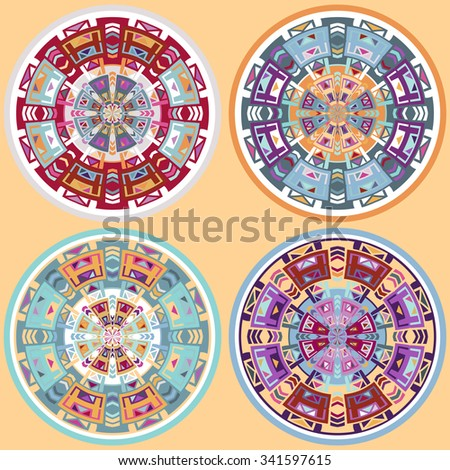 Set of ethnic african circle / labels - stock photo