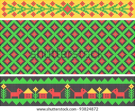 Set of ethnic patterns. Patterns are similar to an ancient Russian ornament. EPS version is available as ID 91487624.