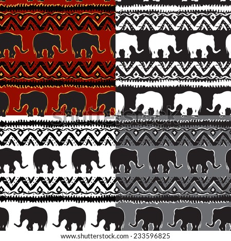 Set of Ethnic  tribal   Seamless Pattern with elephants - stock photo