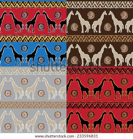 Set of Ethnic  tribal   Seamless Pattern with giraffe - stock photo