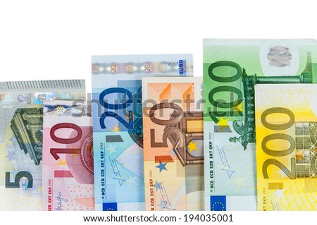 Set of euro banknotes isolated on white background with clipping path - stock photo