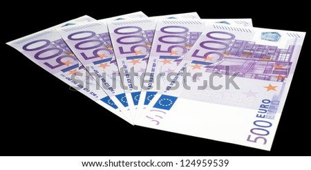 Set of 500 Euro notes on black - These are replica notes within the rules of the ECB, missing security feature (hologram, security stripe), so they can be used for promotional and advertising use.
