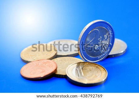 Set of European coins on nice blue background - stock photo