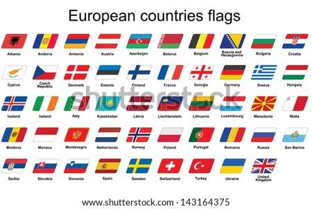 set of European countries flags icons - stock photo