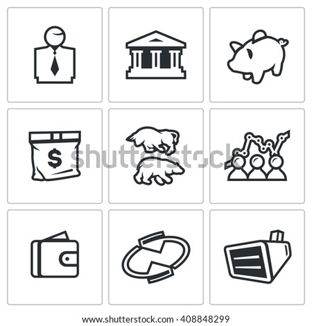 Set of Exchange Icons. Broker, Bank, Piggy, Money, Bull and Bear, Quotes, Purse, Monitor. Man, Building, Accumulate, Bag, Exchange, Schedule, Finance, Rotating, Equipment.  - stock photo