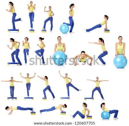 Set of exercising woman, isolated on white - stock photo