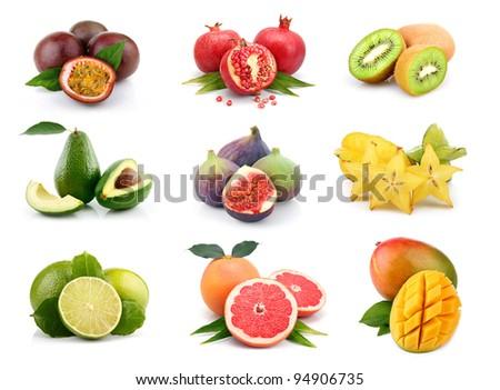 Set of exotic fruits isolated on white background - stock photo