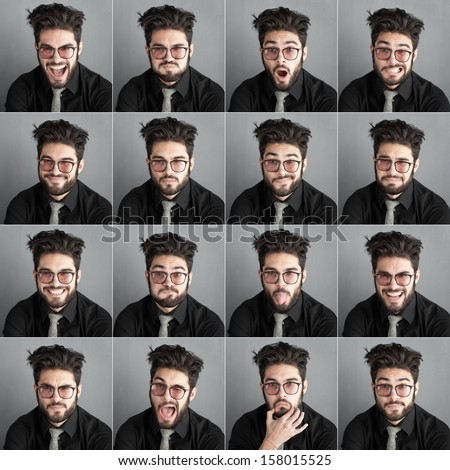 set of expresions of handsome man with eye glasses and beard against dark wall background  - stock photo