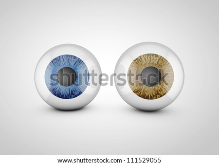 set of eyeballs brown and blue - stock photo