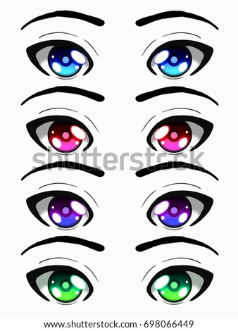 Set Of Eyes Beutiful Colors Anime Style