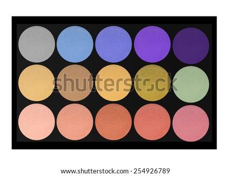 set of eyeshadows isolated on white background - stock photo