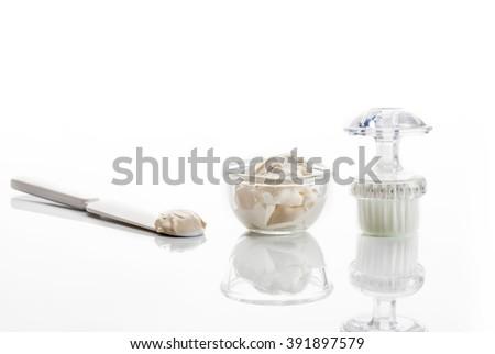 set of face mask, facial brush and spatula for applying masks - stock photo