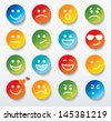 Set of faces with various emotion expressions. - stock