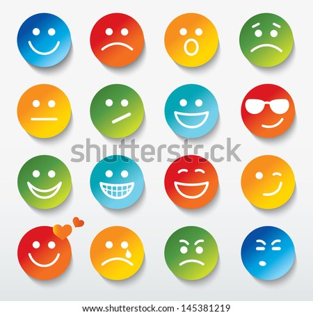 Set of faces with various emotion expressions. - stock photo
