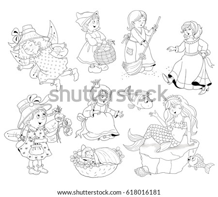 Set Of Fairy Tale Beauties Cinderella Mermaid Thumbelina Snow White Little