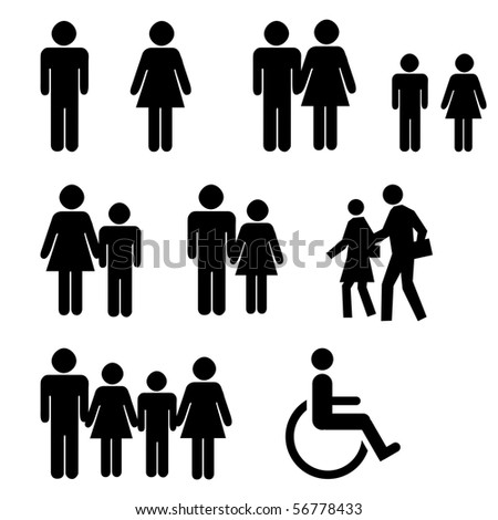 Set of family people silhouettes in different combinations, isolated on white background. - stock photo