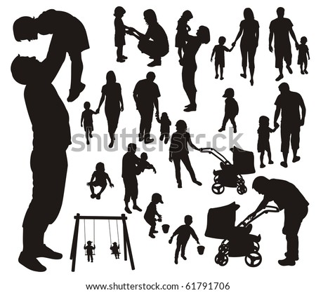 Set of family silhouettes. - stock photo