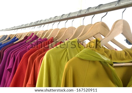 Set of Fashion clothing hanging on hangers