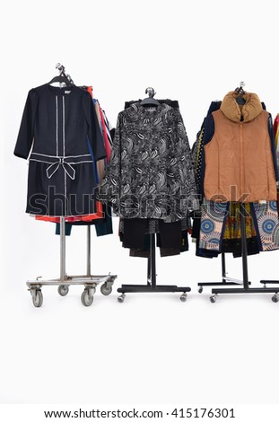 Set of female,clothes rack display   - stock photo