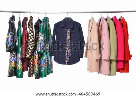 Set of female clothing ,coat shirt on hanging   - stock photo