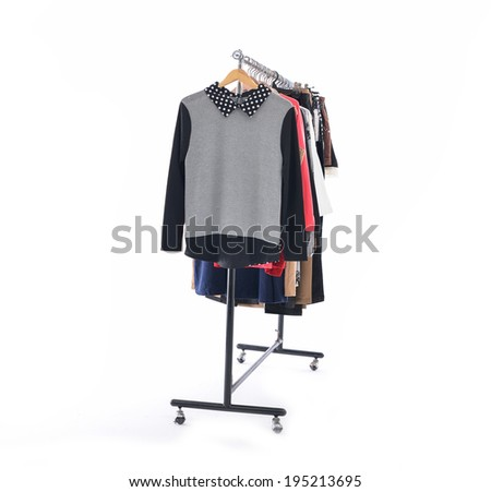 Set of female dress isolated on hanging  - stock photo