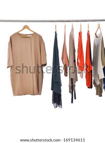 Set of female dress with shirt  isolated on hanging - stock photo