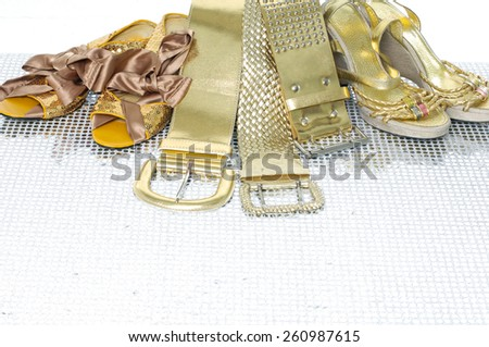 Set of female fashion belts and shoe  - stock photo