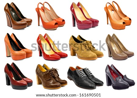 Set of female footwear on white background - stock photo