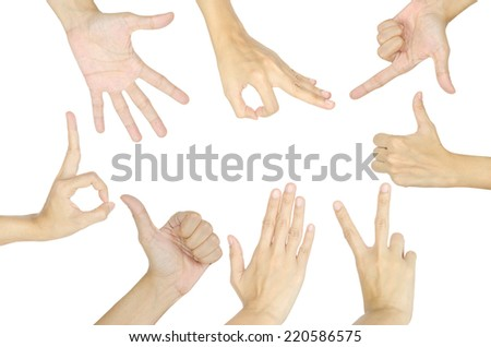 set of female hand gesture isolated on white background