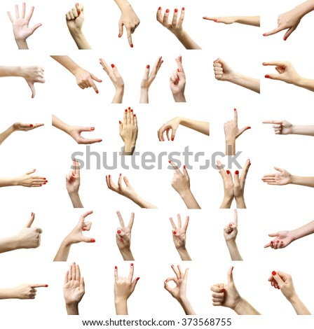 Set of female hands gestures, isolated on white - stock photo