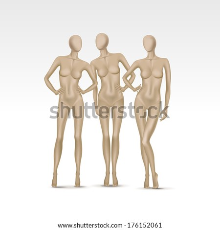 Set of Female Mannequins Isolated on a White Background
