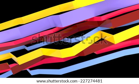 set of few broken horizontal planes painted in different colors - stock photo