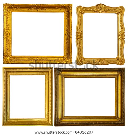 Set of few gold frame. Isolated over white background with clipping path - stock photo