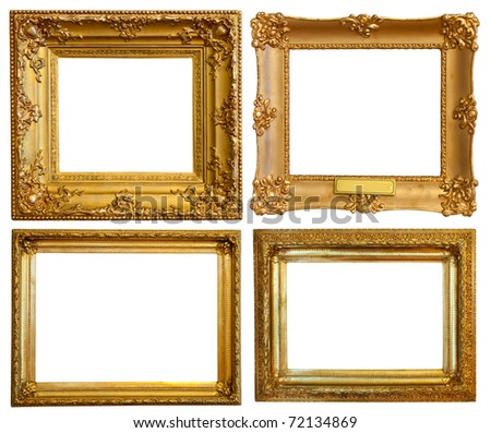 Set of few Luxury gilded frames. Isolated over white background with clipping path - stock photo