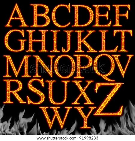 Set of Fiery letters isolated on a black background - stock photo