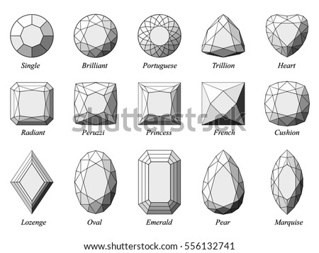 Set fifteen various diamond cut shape stock illustration 556132741 set of fifteen various diamond cut shape and design diagrams with their names top view ccuart Image collections