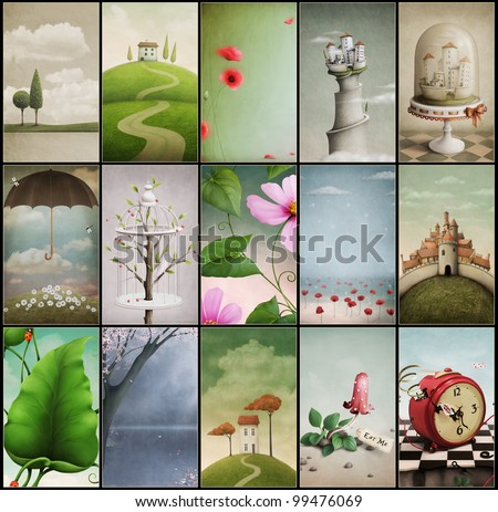 Set of fifteen vintage cards wallpapers for mobile phones. Computer Graphics. - stock photo