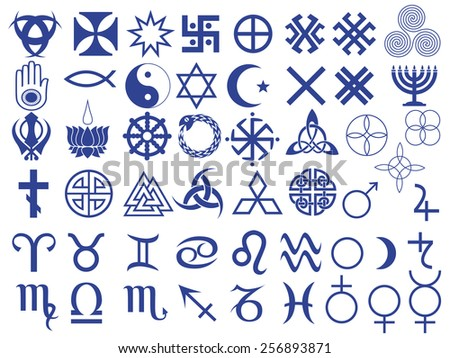 Set of fifty one various symbols created by mankind in different periods of history - stock photo
