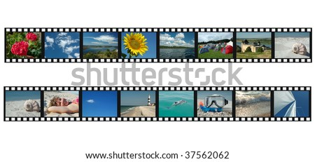 Set of filmstrips with vacation travel photos - stock photo