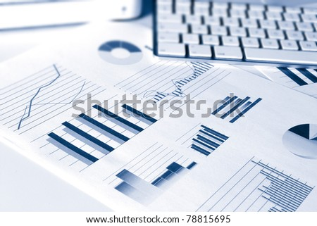 set of financial performance business data graphs showing growth and sales - stock photo