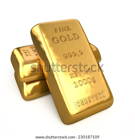 Set of fine gold bars, golden bullion on white background.  Finance 3d illustration