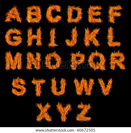 Set of Fire alphabet on a black background - stock photo