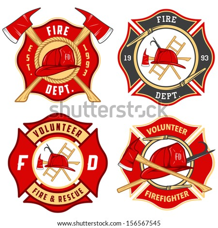 Set of fire department emblems and badges - stock photo