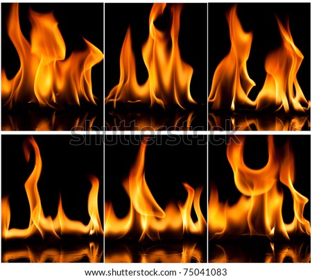 Set of fire flame background - stock photo