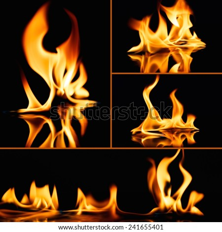 Set of fire flames on black  - stock photo