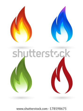 Set of fire icons - stock photo