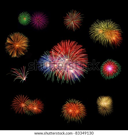 set of fire works with the clear dark background.