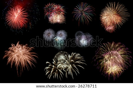 Set of fireworks. Isolated on black for easy extraction. - stock photo