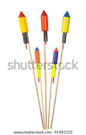 Set of fireworks isolated on white background - stock photo